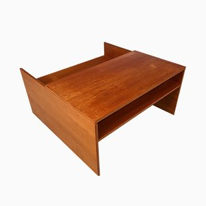 Large Scandinavian Teak Side Table & Magazine Rack, 1960s