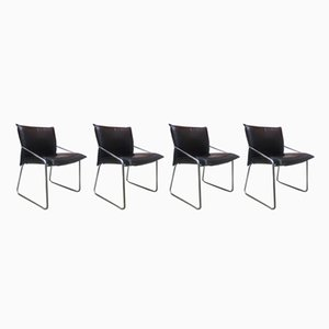 Vintage Steel and Black Leather Chairs, 1970s, Set of 4