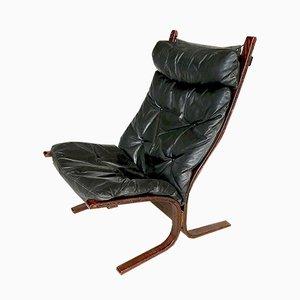 Poltrona Siesta in pelle con schienale alto di Ingmar Relling per Westnofa, anni '60