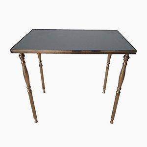 Table d'Appoint Vintage en Laiton Doré et Verre Miroir, France, 1950s