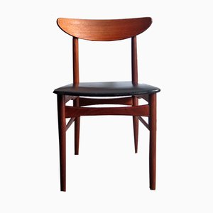 Mid-Century Danish Teak & Black Leatherette Dinning Chair