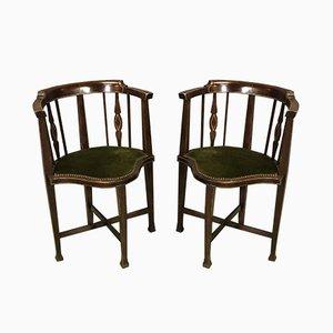 Sillas auxiliares de caoba, siglo XIX. Juego de 2
