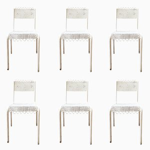 Perforated Metal Chairs, 1950s, Set of 6
