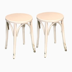 Turned Wooden Stools, 1950s, Set of 2