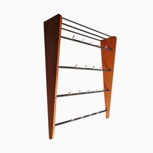 Mid-Century Teak and Metal Wall Rack