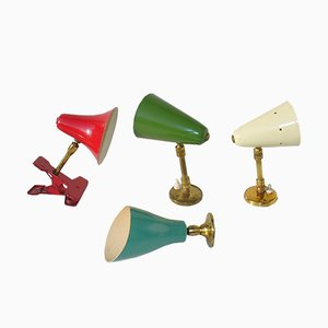 Lámparas de pared de colores de Angelo Lelli & Gino Sarfatti para Arteluce,años 50. Juego de 4