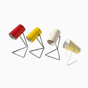 Lámparas de mesa de colores de Stilux Milano, años 50. Juego de 4
