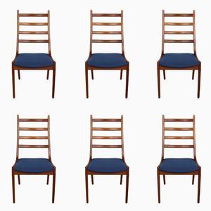 Chaises de Salle à Manger à Dossier Échelle en Teck par Kai Kristiansen pour Korup Stolefabrik, 1960s, Set de 6