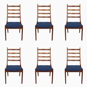 Teak Ladder Back Dining Chairs by Kai Kristiansen for Korup Stolefabrik, 1960s, Set of 6