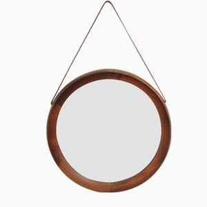 Spiegel mit Rahmen aus Teak & Halterung aus Leder, 1960er