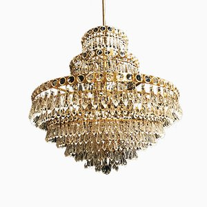 Vintage Murano Crystal Chandelier with Gilt Frame, 1955