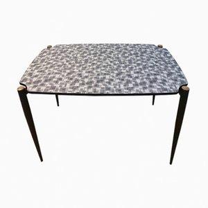 Mesa de comedor con tablero de formica y patas de metal negros, años 50