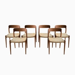 Chaises de Salle à Manger Modèle 75 par Niels Otto Moller pour JL Møllers Møbelfabrik, Danemark, 1970s, Set de 6