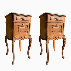 Antique French Marble Nightstands, 1890s, Set of 2