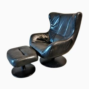 Leather Egg Chair & Ottoman, 1960s
