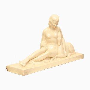 Céramique Dame avec Cerf par Charles Lemanceau, 1920s