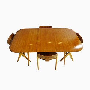 British Beech and Walnut Veneer Dining Set by Robin Day for Hille, 1950s