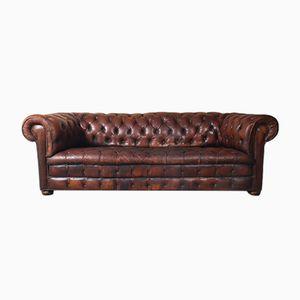 Sofá Chesterfield vintage de cuero marrón, años 60