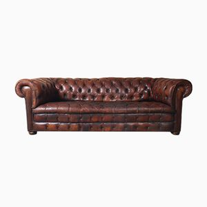 Vintage Brown Leather Chesterfield Sofa, 1960s