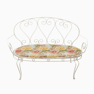Vintage French Wrought Iron Garden Bench, 1957