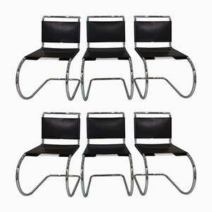 Leather & Chrome Chairs by Mies Van Der Rohe for Knoll International, 1970s, Set of 6