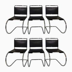 Sedie in metallo cromato e pelle di Mies van der Rohe per Knoll International, anni '70, set di 6