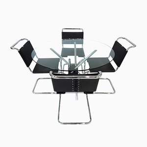 Black Leather and Chrome Dining Set by Takehiko Mizutani and Mies Van Der Rohe for Knoll International