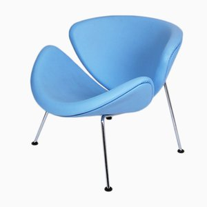 F437 Orange Slice Chair in Baby Blue Leather by Pierre Paulin for Artifort, 1960s