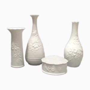 Jarrones de porcelana y bote de galletas Mid-Century de porcelana de Kaiser, años 60. Juego de 4