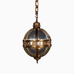 Lanterna Clyde Mid-Century in rame e vetro, anni '50