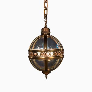 Mid-Century Copper and Glass Clyde Lantern, 1950s
