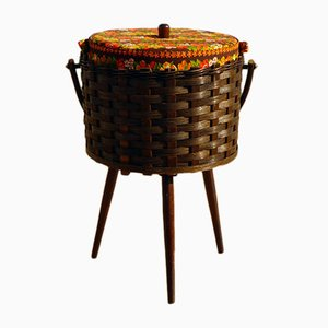 Rattan Sewing Box on Legs, 1960s