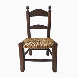 Vintage Beistellstuhl für Kinder mit Sprossenlehne und geflochtenem Sitz, 1950er