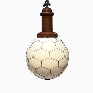 Street or Factory Pendant Lamp with Opaline Glass, 1900s