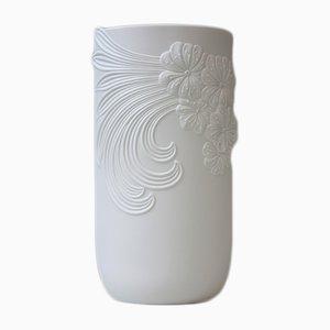 Große Vintage Vase aus Biskuitporzellan in Weiß von M. Frey für AK Kaiser