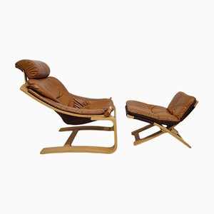 Kroken Sessel & Fußhocker aus cognacfarbenem Leder von Ake Fribyter für Nelo Möbel, 1970er