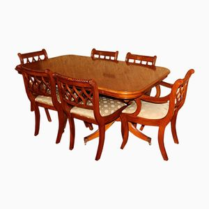 Vintage Yew Wood Dining Set, 1980s