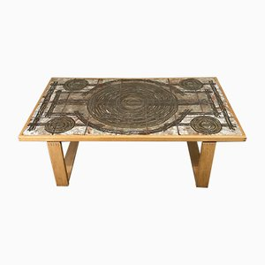 Oak and Ox-Art Ceramic Coffee Table, 1970s