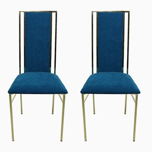 Brass and Velvet Dining Chairs, 1970s, Set of 2