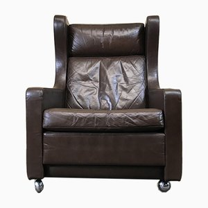 Vintage Danish Wingback Leather Armchair