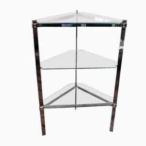 Mesa auxiliar triangular con estantes de vidrio de Merrow Associates, años 70