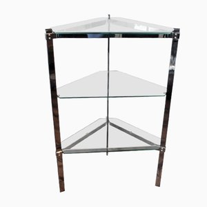 Triangular Glass Side Table with Shelves from Merrow Associates, 1970s