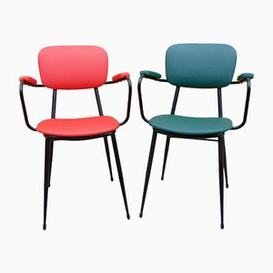 Mid-Century Green and Red Side Chairs, Set of 2