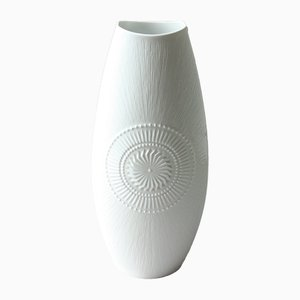 Große deutsche Vintage Vase in Weiß von AK Kaiser