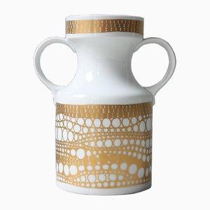 Deutsche Vintage Vase in Weiß & Gold von Heinrich Porzellan