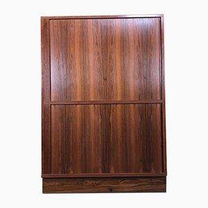 Vintage Danish Rosewood Cabinet with Tambour Doors