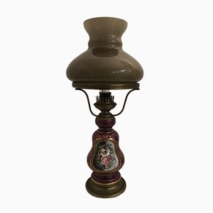 Lampada da tavolo vintage in ceramica e vetro opalino