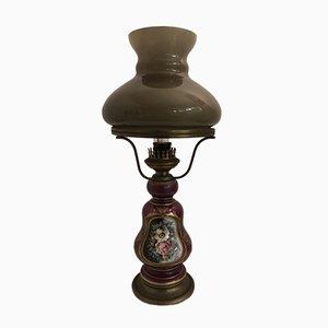 Vintage Tischlampe aus Keramik & Opalglas