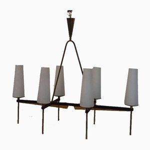 Lámpara de araña Mid-Century de metal, latón y vidrio, años 50