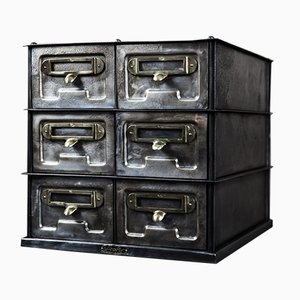 Schedario vintage a sei cassetti di Strafor, anni '30